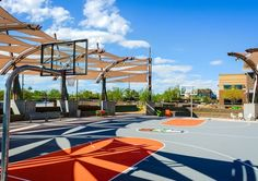 Scottsdale-based GoDaddy, a web domain and technology provider, opened its Global Technology Center in Tempe on Oct. replacing an existing facility in the area. Basketball Park, Love And Basketball, Public Spaces, Kid Spaces, Shade Sails, Urban Park, Urban Design, Playground, Parks