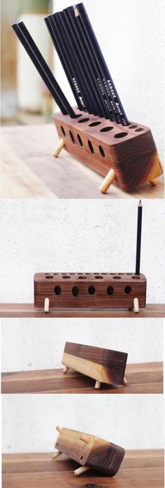 Wooden Pen Pencil Holder Stand Office Desk Organizer