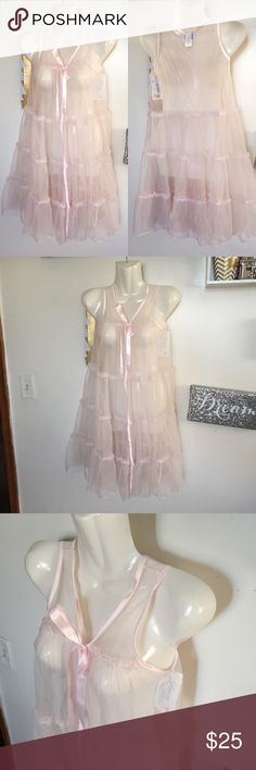 Sheer Ruffle Cover Up New with tags. Can be worn by a little girl as a coverup over her Pj's. Or can be worn as some sexy lingerie. lol it's very versatile.  Brand is Laura Dare. Laura Dare Intimates & Sleepwear Chemises & Slips