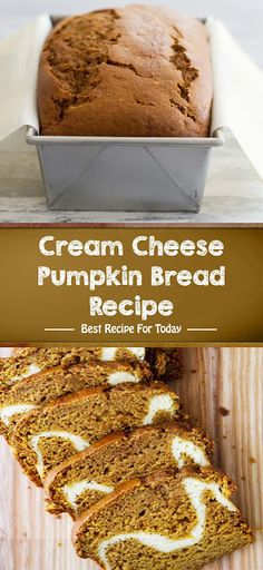 Cut into this pumpkin bread to reveal the wonderful cream cheese filling! This Cream Cheese Pumpkin Bread Recipe is the perfect loaf for fall baking. Cake Recipes At Home, Delicious Cake Recipes, Homemade Cake Recipes, Best Dessert Recipes, Yummy Cakes, Fun Desserts, Baking Recipes, Dessert Ideas, Bread Recipes