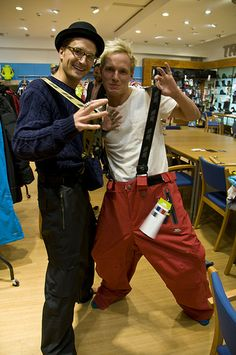 Proudlock and Jamie from Made in Chelsea try on our ski pants. OMG Megan!!