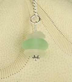 GENUINE Aqua Sea Glass Jewelry Sand Pail And Shovel Necklace Sea