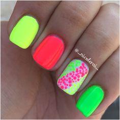 Discover new and inspirational nail art for your short nail designs. Short Nail Designs, Colorful Nail Designs, Cute Nail Designs, Bright Nails, Neon Nails, Love Nails, Stylish Nails, Trendy Nails, Summer Gel Nails