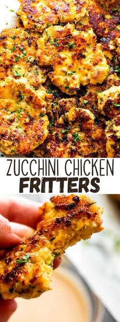 Cheesy Zucchini Chicken Fritters combine ground chicken, mozzarella, parmesan, and zucchini into golden-brown fritters that are crispy on the outside and juicy on the inside. Vegetarian Zucchini Recipes, Yummy Chicken Recipes, Delicious Dinner Recipes, Veggie Recipes, Appetizer Recipes, Healthy Recipes, Turkey Recipes, Turkey Dishes, Skinny Recipes