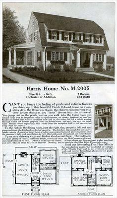 1920s Vintage Home Plans - Dutch Colonial Revival - The Washington ...