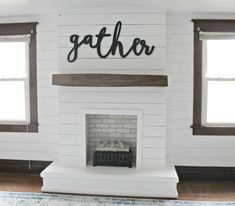 I'm so excited to be sharing our DIY Shiplap Fireplace with you guys today! This project was a beast that took us many months to complete … – Home – fireplace Painted Brick Fireplaces, Shiplap Fireplace, Rustic Fireplaces, Farmhouse Fireplace, Home Fireplace, Fireplace Remodel, Fireplace Design, Fireplace Mantels, Fireplace Ideas
