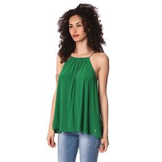 Green halter top with gold-tone chain straps – Fashion Gal Freedom