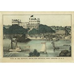 Rare lithograph prospect view of Neptune House, a large multistory summer resort on Neptune Island in Long Island Sound. This print likely was intended as a promotional advertisement for the resort, built in 1837 in the center of a wooded island as a getaway for New York City residents. One section of the original hotel still stands today, divided into four private homes. Part of the island is now a public park. Image Border, Pictorial Maps, Long Island Sound, New Rochelle, Small Buildings, Grand Tour, Antique Prints, Natural History, Hand Coloring