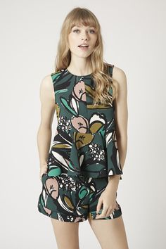 Photo 3 of Floral Print Peplum Shell Top