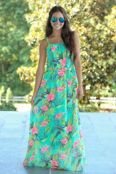 Island In The Sun Maxi Dress-Seafoam - Maxi Dresses - Dresses | The Red Dress Boutique