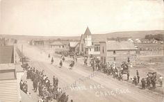 Horse Race June 24, 1910 in Craig, Colorado for the Routt County Pioneer Days, on Yampa Avenue. from Museum of Northwest Colorado