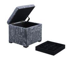 Script Judith Storage Ottoman with Black Jewelry Tray Stylish Home Furniture