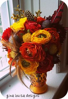 Fall bouquet with feathers and cacti?