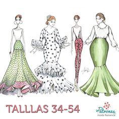 En www.patronesmodaflamenca.com puedes encontrar el patrón del traje que quieres de tu talla 💚 . . . #patronesmodaflamenca… Flamenco Skirt, Flamenco Dresses, Kawaii, Fashion Sketches, Fashion Illustrations, Diy Clothes, Mother Of The Bride, Dress Patterns, Beautiful Dresses