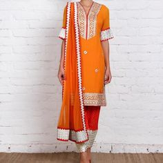 """""""Beautiful orange kurta teamed up with a bottom and dupatta with the bling of silver borders and handwork  Colour can be customised  Whatsapp or DM for…"""""""