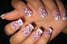 45 Gorgeous French Nails With Flowers In 2018 – Page 7 – BeautyPlus Nail Designs Tumblr, Nail Art Designs 2016, Cute Nail Art Designs, Flower Nail Designs, Simple Nail Designs, Pretty Designs, Floral Nail Art, White Nail Art, Acrylic Nail Art
