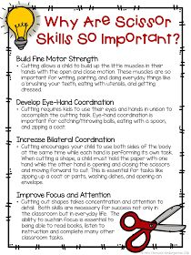 Why are Scissor Skills So Important? FREE printable for parents, teachers and. - Why are Scissor Skills So Important? FREE printable for parents, teachers and… Why are Sciss - Preschool Classroom, Preschool Learning, Early Learning, Preschool Activities, Motor Activities, Time Activities, Physical Activities, Dementia Activities, Preschool Parent Communication