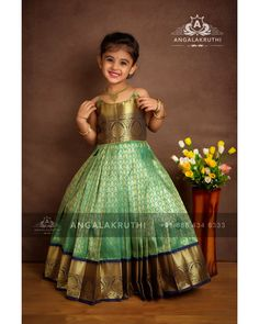 Children's Pattu Pavadai designs by Angalakruthi Bangalore – Cupcakee Bloğ Girls Frock Design, Baby Dress Design, Kids Lehanga Design, Lehanga For Kids, Kids Saree, Kids Lehenga, Kids Dress Wear, Kids Gown, Baby Frocks Designs
