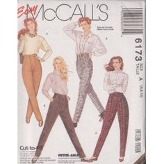 Misses Pants McCall's Sewing Pattern 6173 (Size A: 6-8-10)
