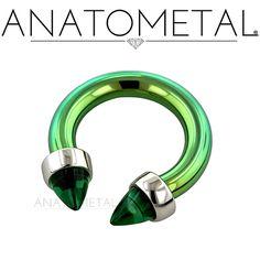 "5/16"", 12ga Circular Barbell with Threaded Bezel-set Gem Ends in ASTM F-136 titanium, anodized green: bullet-cut synthetic Emerald gemstones"