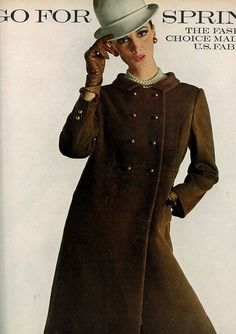 Wilhelmina in a chocolate brown wool coat by Oscar De la Renta for Jane Derby, photo by Bert Stern for Vogue 1966