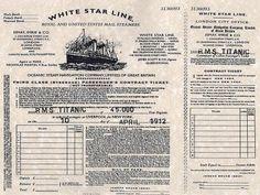 Copy of ticket on Titantic on April 10, 1912.