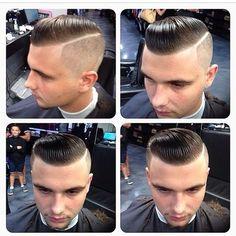 Barber Haircuts, Cool Haircuts, Haircuts For Men, Slick Hairstyles, Hairstyles Haircuts, Short Hair Cuts, Short Hair Styles, Brylcreem, Gents Hair Style