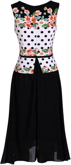 jeansian Women's Sleeveless Chiffon Big Hem Floral Dresses with Belt WKD191