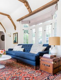 The Surprising Value of Colored, Textured or Patterned Lampshades - Emily Henderson Living Room Sofa, Rugs In Living Room, Living Room Designs, Living Room Furniture, Living Room Decor, Patterned Lampshades, Family Room Design, Interiores Design, Decoration