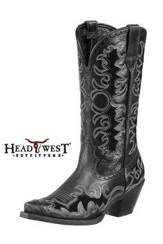 Ariat Women's Dandy Black Deertan Cowgirl Boots