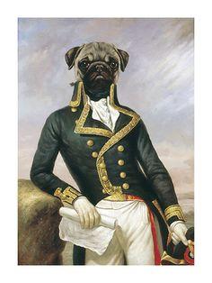 Premium Giclee Print: La Gloire Art Print by Thierry Poncelet by Thierry Poncelet : Pugs, Dog Artist, Dog Paintings, Pics Art, Dog Portraits, Art Drawings, Dog Cat, Cute Animals, Art Prints