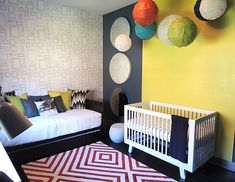 Guest Room Decorating Ideas for a Dual-Purpose Space / love the mix of prints, color, and geometric shapes