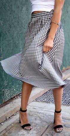 Gingham swing skirt