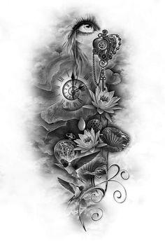 gallery custom tattoo designs tattoo tattoo design ideas - Tattoos And Body Art Full Sleeve Tattoos, Up Tattoos, Tattoo Sleeve Designs, Future Tattoos, Rose Tattoos, Tattoo Drawings, Body Art Tattoos, Tattoos For Guys, Tatoos
