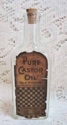 4oz Early Glass Castor Oil Bottle Medicine Pharmaceutical SOLD
