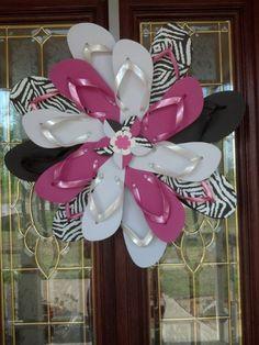 Specialty Zebra Print & Hot Pink Girls Bedroom Wall / Door Decor Flip Flop Wreath. $44.00, via Etsy.