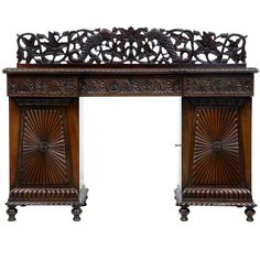19th Century Carved Padouk Colonial Anglo Indian Sideboard Buffet | From a unique collection of antique and modern buffets at https://www.1stdibs.com/furniture/storage-case-pieces/buffets/