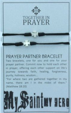 Women or Men's Black Cotton Cord Bracelets with Cross Medals. Prayer Partner Bracelets. The 2 Bracelets Come Displayed on a Card with Their ...