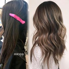 """@hairxjojo on Instagram: balayage brunette """"before and after on my bestie ❤️ foilayage and babylights // #HAIRXJOJO #HAIRBYJOANNECHUNG…"""""""