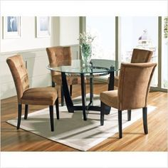 Bundle-10 Matinee Dining Table Set with Camel Parson Chair (4 Pieces) by Steve Silver Furniture. $660.00. [***INCLUDED IN THIS SET: (1)Matinee Dining Table Top, (1)Matinee Dining Table Base, (2)Matinee Parsons Chair with Camel Microfiber Seat] Features: -Beveled glass top.-Contemporary style.-Round shape top.-Seat and back upholstered durable tufted Camel microfiber. Includes: -Set includes dining table and four parsons chair. Construction: -Sturdy gauge metal constructi...