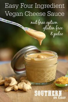 This Four Ingredient Vegan Cheese Sauce Recipe is SO easy and so delicious. All you will need is cashews nutritional yeast stock and paprika or sunflower seeds for nut free Paleo gluten free grain free low carb high protein clean eating friendly and raw Vegan Cheese Recipes, Vegan Cheese Sauce, Vegan Sauces, Vegan Recipes No Soy, Best Vegan Cheese, Pasta Cheese, Nutrition Education, Nutrition Store, Healthy Nutrition