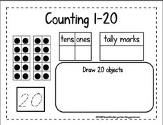 place value, tally marks, ten frame, drawing objects