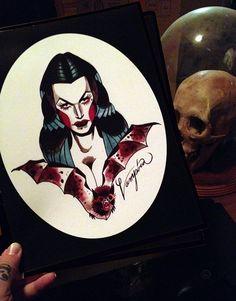 vampira tattoo flash portrait  8 x 10 by SaraRayArt on Etsy, $13.00
