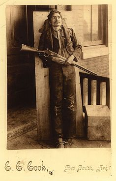 Cherokee outlaw, Ned Christie propped up on a slab for this photograph in Fort Smith, Arkansas after finally being captured dead or alive by one of Judge Parker's posses. *s