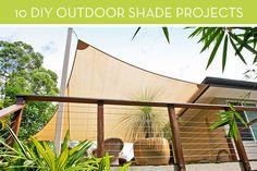 Ten DIY ways to create shade in your backyard using canopies, pergolas and shade sails.