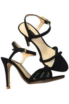 LUCLUC Black Sling Back Open Toe Sandals