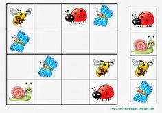 Sudoku Pages for Preschool Children (New) - Kindergarten Activities, Infant Activities, Activities For Kids, Sudoku Puzzles, Halloween Math, Matching Games, Kids Education, Kids Playing, Coloring Pages