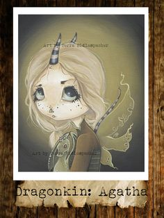 Fairy goth dragon girl lowbrow big eye fantasy art print green-Dragon kin - Agatha
