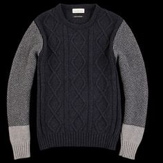 cable knit contrasting sleeves blocking