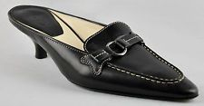 TOD's Shoes Black Leather Kitten Heels Size 4.5 (37.5 / USA 6.5) Designer Womens